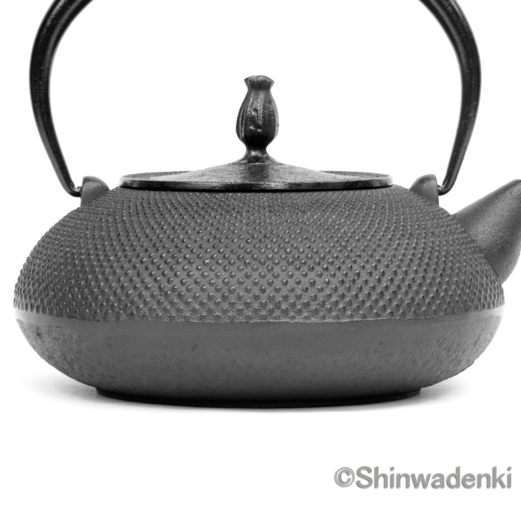 南部鉄器 鉄瓶 平丸アラレ(鉄蓋)黒