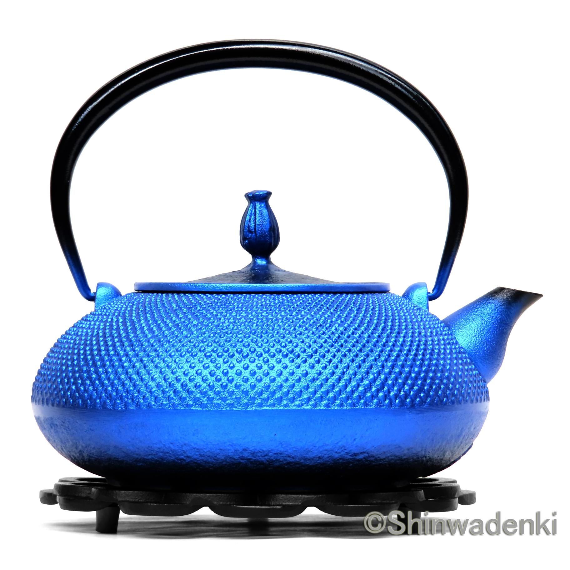 南部鉄器 鉄瓶 平丸アラレ(鉄蓋)瑠璃色